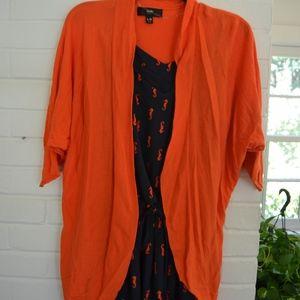 Red Orange Cardigan 3/4 Sleeve